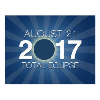 Postal Eclipse solar total 2017 - diseño azul