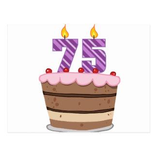 Postal Edad 75 en la torta de cumpleaños