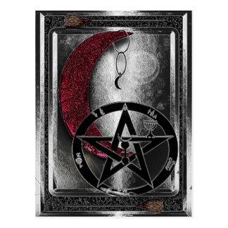 Postal Edad de la luna creciente de plata de Wiccan nueva