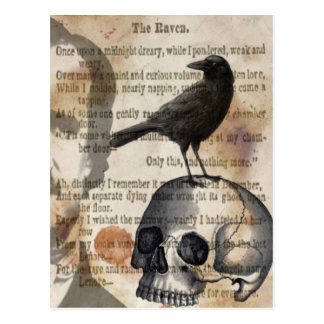 Postal Edgar Allan Poe el cráneo y el pájaro del cuervo
