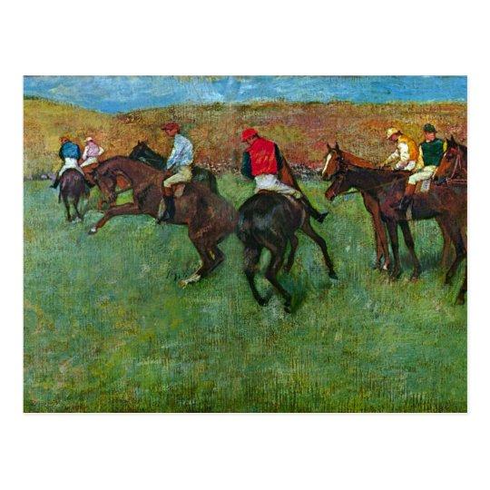 Postal Edgar Degas - carrera de caballos antes de
