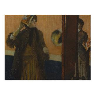Postal Edgar Degas - en el sombrerero