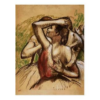 Postal Edgar Degas: Tres bailarines de ballet