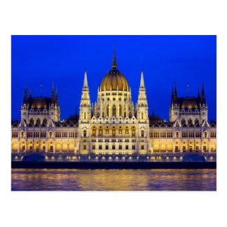 Postal Edificio húngaro del parlamento en Budapest