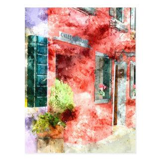 Postal Edificios de Burano Italia