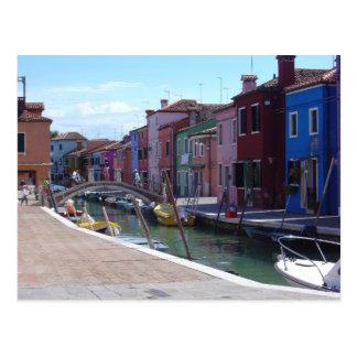 Postal Edificios en Burano, Venecia