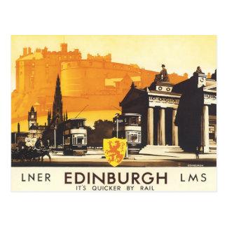 Postal Edimburgo LNER multa el poster del viaje del