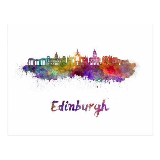 Postal Edinburgh V2 skyline in watercolor