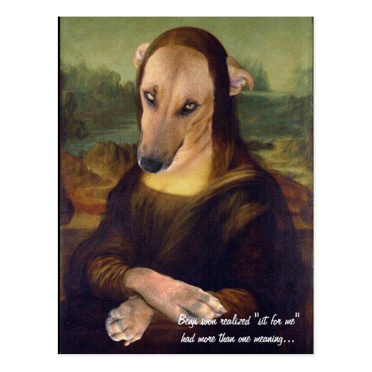 Postal Efecto divertido de la pintura del perro de Mona