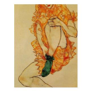 Postal Egon Schiele- la media verde