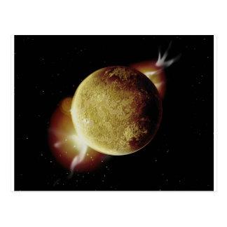 Postal ejemplo amarillo del planeta 3d en universo
