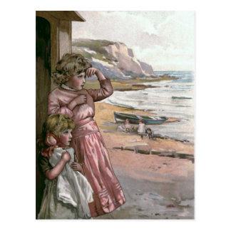 Postal Ejemplo de libro del vintage del barco del padre