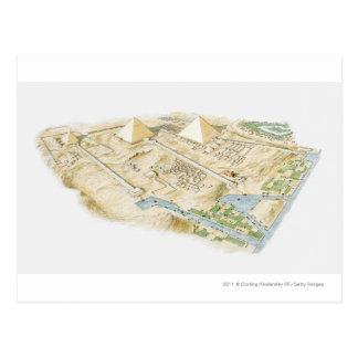 Postal Ejemplo de pirámides de Giza
