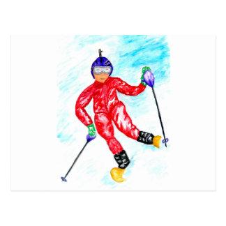 Postal Ejemplo del deporte del esquiador