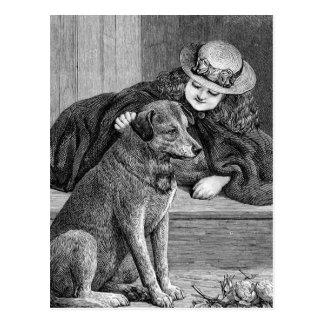 """Postal Ejemplo del vintage del """"chica y del perro"""""""