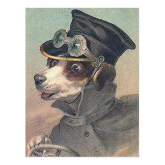 """Postal """"Ejemplo del vintage del perro del conductor"""""""