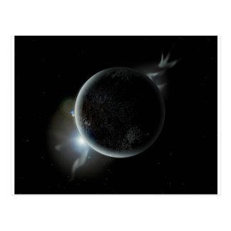 Postal ejemplo negro del planeta 3d en el universo