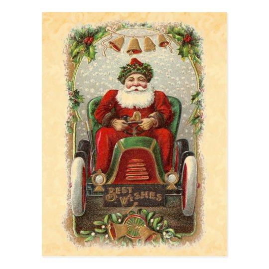 Postal Ejemplo Santa del vintage en el coche antiguo A01