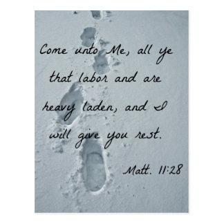 Postal El 11:28 de Matthew viene a mí, todo el YE que