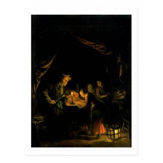 Postal El amo de la escuela, 1660-65 (aceite en el panel)