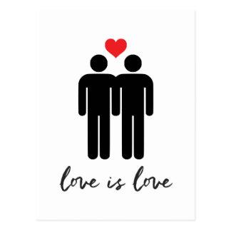 Postal El amor es amor (los hombres) + Corazón