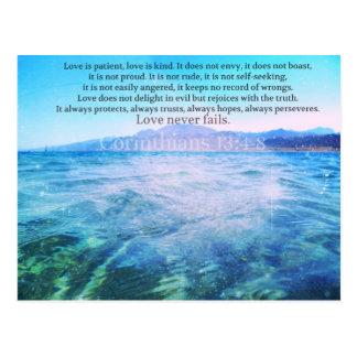 Postal El amor es paciente, amor es verso de la biblia de
