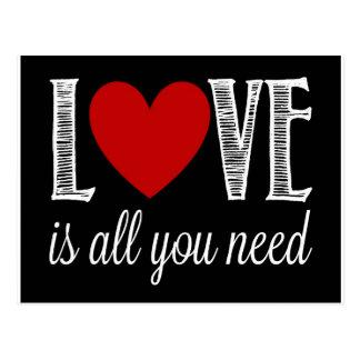 Postal El amor es todo lo que usted necesita
