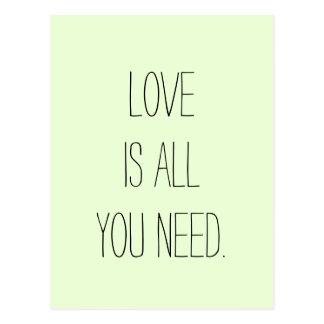 """Postal El """"amor es todo lo que usted necesita """""""