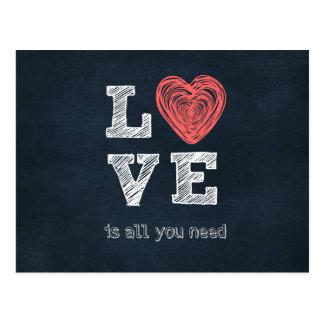 Postal El amor es todo lo que usted necesita cita