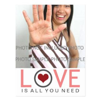 Postal El amor es todo lo que usted necesita la foto gris