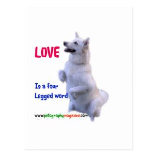 Postal El amor es una palabra legged cuatro