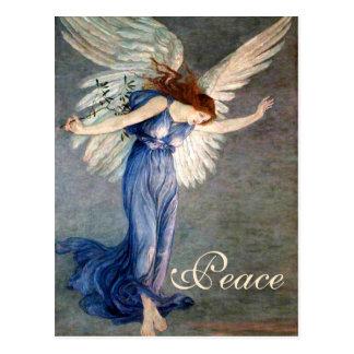 Postal El ángel de la grúa del navidad de la paz