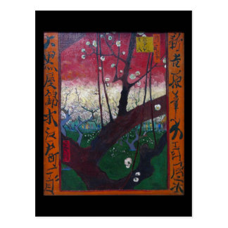 Postal El árbol de ciruelo floreciente de Vincent van