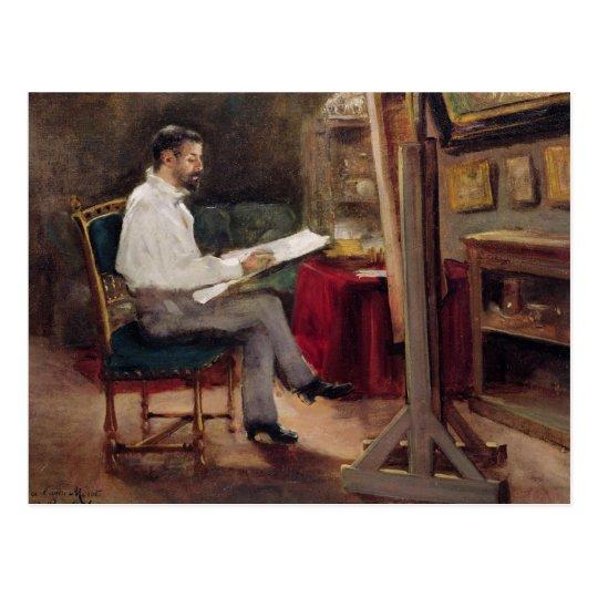 Postal El artista Morot en su estudio, c.1874