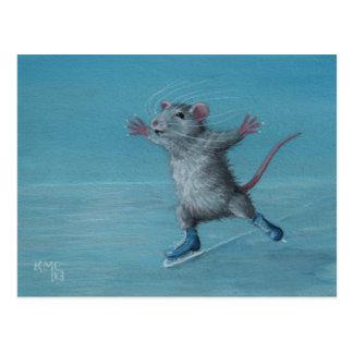 Postal El azul del patinaje de hielo de la rata patina