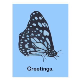 Postal El azul negro de pintura de la mariposa mancha las