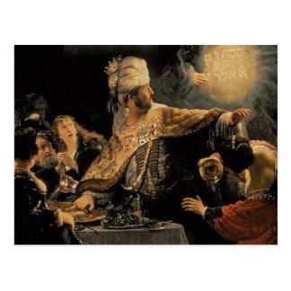 Postal El banquete c.1636-38 del Belshazzar