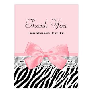 Postal El bebé le agradece estampado de zebra rosado de