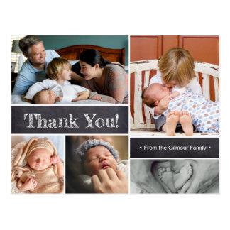 Postal El bebé le agradece, presentando al bebé, collage