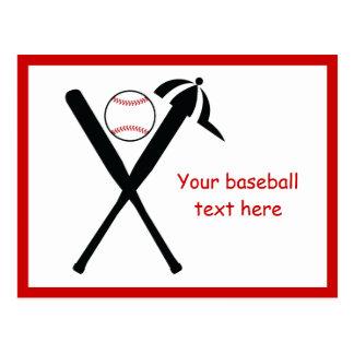 Postal El béisbol cruzó palos y el negro del casquillo,