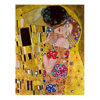 Postal El beso de Gustavo Klimt, arte Nouveau del vintage