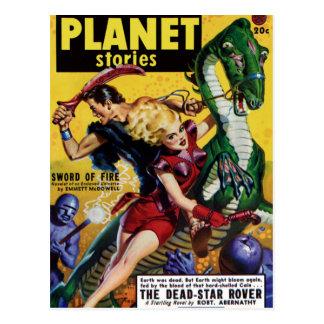 Postal El Blonde heroico monta un dinosaurio