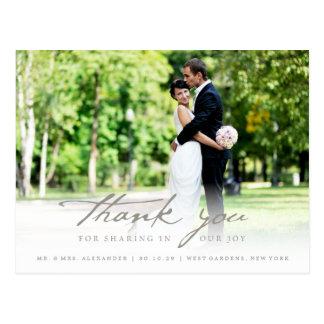 Postal El boda con clase de la escritura simple de