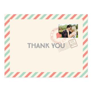 Postal El boda del correo aéreo del vintage le agradece
