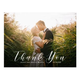 Postal El boda elegante de la escritura le agradece