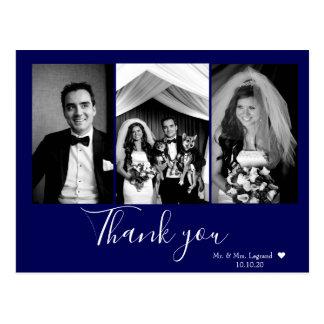 Postal El boda elegante de la escritura le agradece los