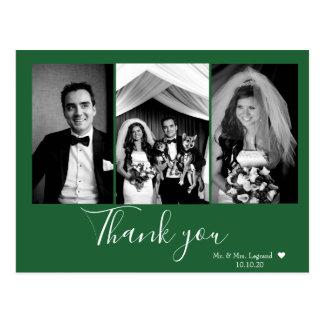 Postal El boda elegante de la escritura le agradece verde