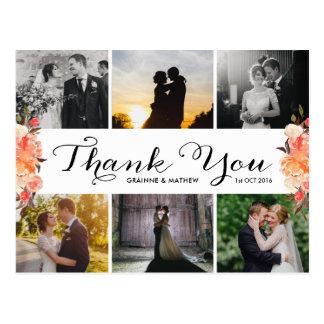 Postal El boda floral de la caída del collage de la foto