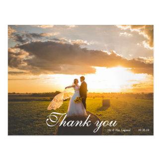 Postal El boda puesto letras escritura de 2 fotos le