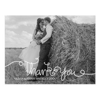 Postal El boda puesto letras mano de Swirly le agradece